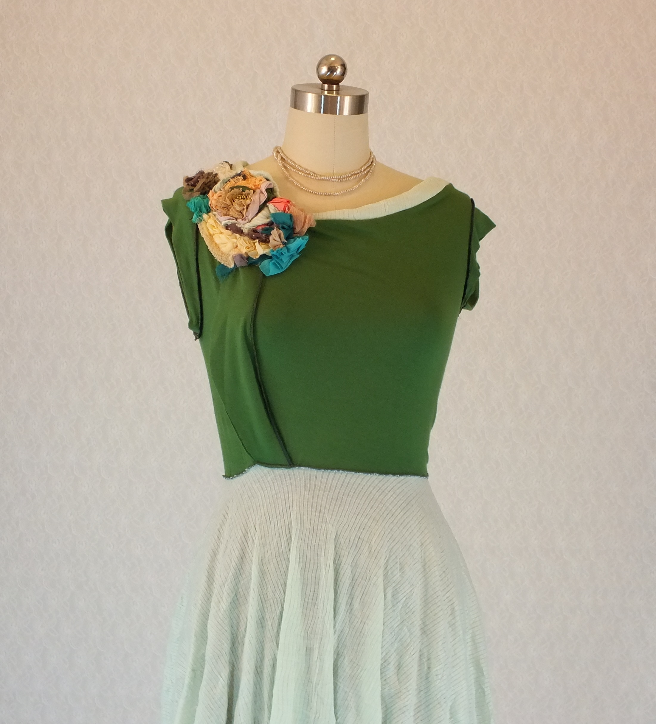 Handmade Vintaged Green Garden Dress Liat Azar